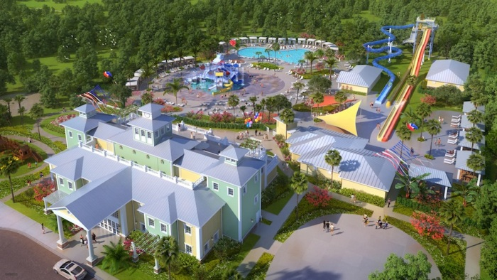 Small Aerial Shot of Encore Clubhouse and Water Park